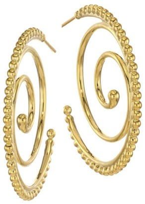 Temple St. Clair Midnight Oasis Arabesque 18K Yellow Gold Hoop Earrings