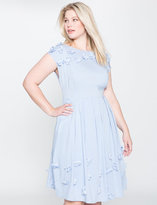 ELOQUII Plus Size Studio Flower Applique Fit and Flare Dress