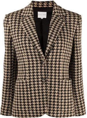 Céline Pre-Owned Pre-Owned Houndstooth Pattern Blazer
