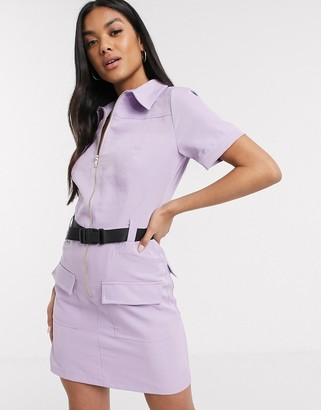 Parisian utility mini dress with seat belt buckle in lilac