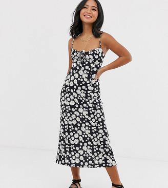 Asos DESIGN Petite midi slip sundress in daisy print with tie-Multi