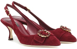 Dolce & Gabbana Embellished suede slingback pumps