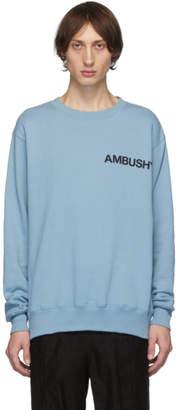 Ambush SSENSE Exclusive Blue Logo Crewneck Sweatshirt