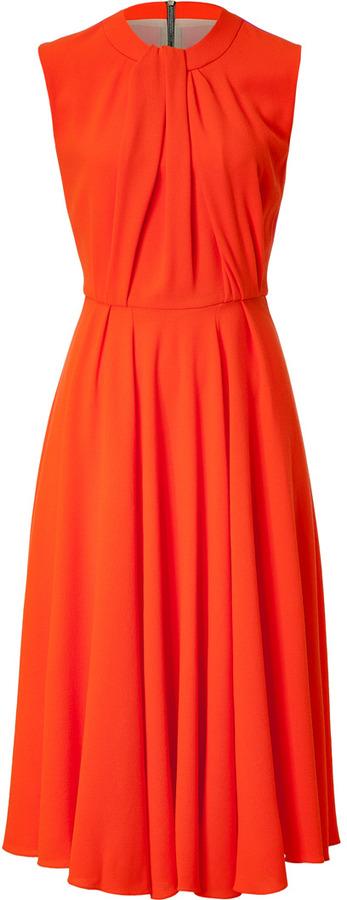 Roksanda Ilincic Wool-Crepe Sessler Dress in Fluro Orange/Pink