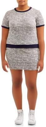 Poof Apparel POOF Juniors' Plus Size Tweed Mini Skirt and Crewneck Top Set