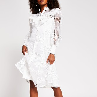 River Island Womens White long sleeve midi lace shirt dress