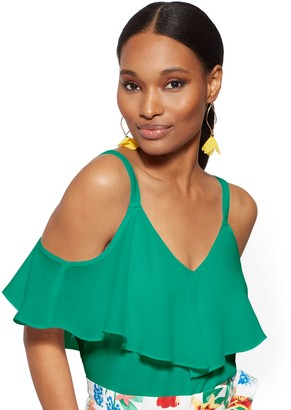 New York & Co. Petite Flounced Cold-Shoulder Top