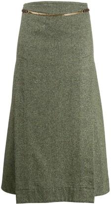 Victoria Beckham chain detail A-line skirt