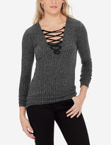 The Limited Lace-Up Ribbed Sweater
