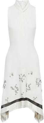 3.1 Phillip Lim Twist-front Embellished Satin-paneled Silk-crepe Dress
