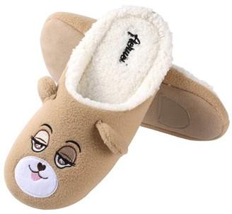 Aerusi Women's Soft Cozy Slip-On Plush Luxury Home Warm Cute Bear Slippers