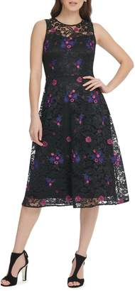 DKNY Embroidered Floral Lace Fit Flare Midi Dress