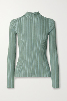 Acne Studios Ribbed Cotton-blend Turtleneck Sweater - Gray green