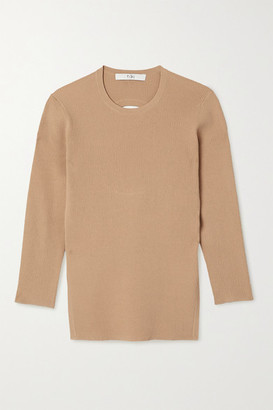 Tibi Giselle Cutout Ribbed-knit Sweater - Beige