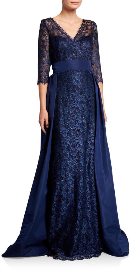 Rickie Freeman For Teri Jon Premier V-Neck 3/4-Sleeve Lace Gown with Silk Faille Overlay Skirt