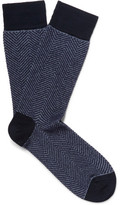 Marcoliani - Herringbone Cotton-blend Socks - Blue