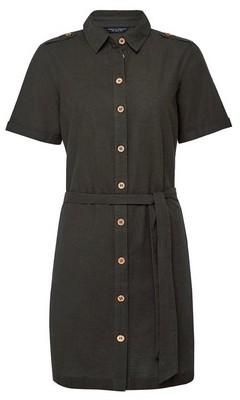 Dorothy Perkins Womens Khaki Linen Shirtdress, Khaki