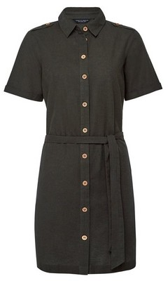 Dorothy Perkins Womens Khaki Shirt Dress With Linen, Khaki