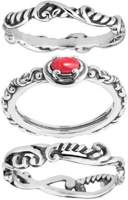 Carolyn Pollack Sterling Simply Fabulous Set of Three Rings