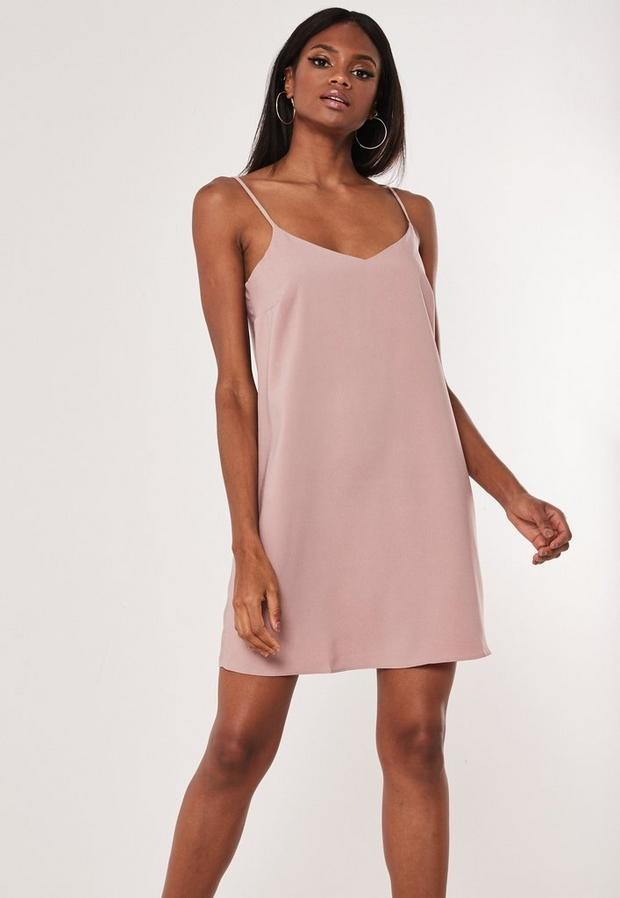 Missguided Nude Crepe Cami Shift Dress