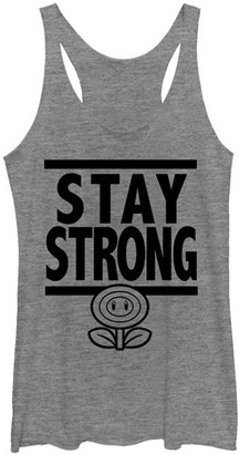 Super Mario Bros. Women's Tank Tops GRAY - Super Mario Bros. 'Stay Strong' Racerback Tank - Women & Juniors