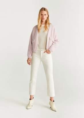 MANGO Faux-fur pockets cardigan light pink - S - Women