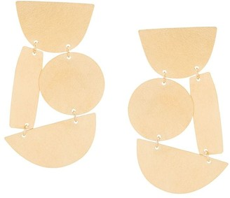 Annie Costello Brown Geometric Oversized Earrings