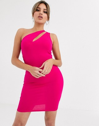 ASOS DESIGN going out slash front bodycon mini dress in hot pink