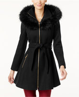 Laundry by Shelli Segal Faux-Fur-Trim Skirted Swing Coat