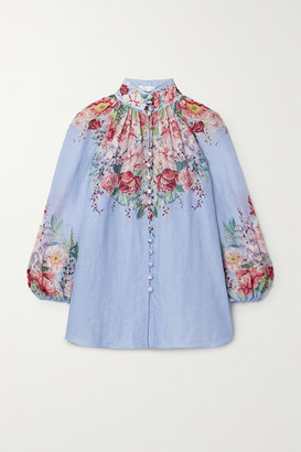 Zimmermann Bellitude Floral-print Ramie Blouse - Light blue