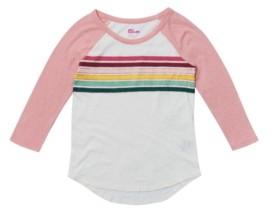 Epic Threads Big Girls 3 Quarter Sleeve Rainbow Chest Stripe Tee