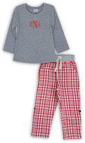 Princess Linens Red & Gray Monogram Top & Plaid Bottoms - Toddler & Boys