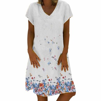 Tuduz Dress Mini Dresses TUDUZ Sale Clearance Women Summer Plus Size Vintage Ethnic Printed V-Neck Cotton and Linen Shift Dress (A Khaki UK-18/CN-3XL)