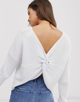 Hollister reversable knit sweater in white