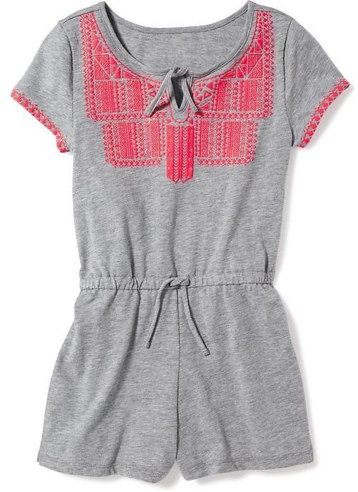 Old Navy Puff-Print Slub-Knit Romper for Girls