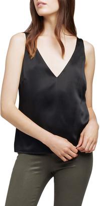L'Agence Willow V-Neck Sleeveless Stretch Silk Blouse