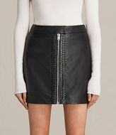AllSaints Willow Leather Skirt