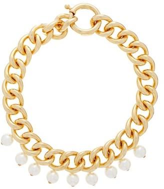 Rosantica Canasta Pearl-embellished Curb-chain Choker - Gold
