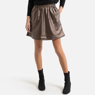 Pieces Metallic Mini Skirt with High Waist