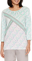Alfred Dunner Mint To Be 3/4 Sleeve Patchwork Print Top