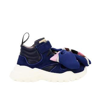 Emilio Pucci Leather And Velvet Sneakers With Maxi Foulard Bow