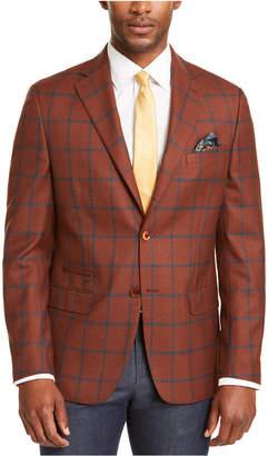 Tallia Men Slim-Fit Rust/Teal Windowpane Sport Coat