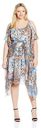 Robbie Bee Women's Plus Size One Piece Cold Shoulder Dress
