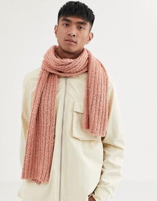 Asos DESIGN textured pink standard scarf