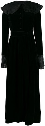 Nina Ricci Pre Owned 1970s Ruffled Trim Maxi Dress
