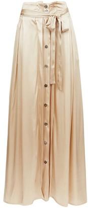 Ann Demeulemeester Belted Silk-blend Satin Maxi Skirt - Womens - Gold