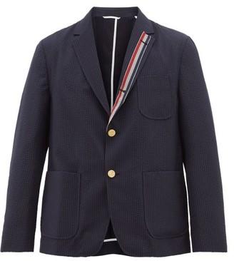 Thom Browne Tricolour-trim Single-breasted Wool Jacket - Mens - Navy