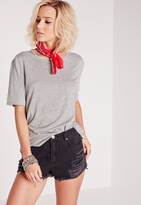 Missguided Basic One Pocket T Shirt Grey