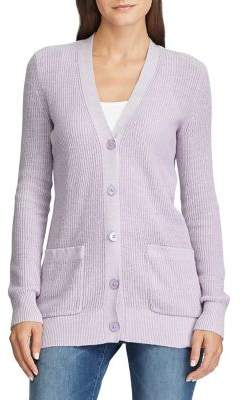 Lauren Ralph Lauren Ribbed Cotton-Blend Cardigan