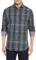 Thomas Dean Men's Regular Fit Jacquard Plaid Sport Shirt